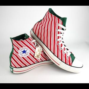 Converse Candy Cane Red Shoes Christmas Size 11
